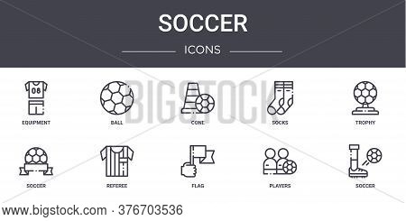 Soccer Concept Line Icons Set. Contains Icons Usable For Web, Logo, Ui Ux Such As Ball, Socks, Socce