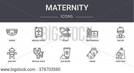 Maternity Concept Line Icons Set. Contains Icons Usable For Web, Logo, Ui Ux Such As Medical Check,