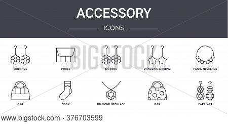 Accessory Concept Line Icons Set. Contains Icons Usable For Web, Logo, Ui Ux Such As Purse, Dangling
