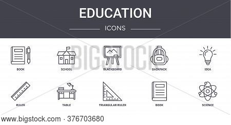 Education Concept Line Icons Set. Contains Icons Usable For Web, Logo, Ui Ux Such As School, Backpac