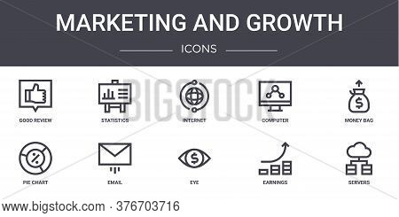 Marketing And Growth Concept Line Icons Set. Contains Icons Usable For Web, Logo, Ui Ux Such As Stat