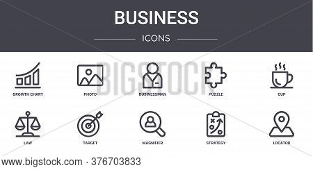 Business Concept Line Icons Set. Contains Icons Usable For Web, Logo, Ui Ux Such As Photo, Puzzle, L