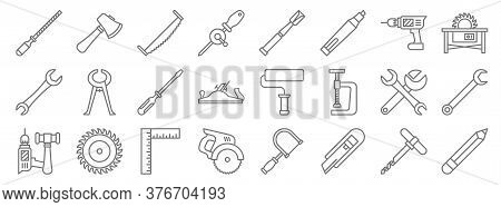 Carpentry Line Icons. Linear Set. Quality Vector Line Set Such As Pencil, Cutter, Electric Saw, Tool
