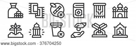 12 Set Of Linear Ramadan Icons. Thin Outline Icons Such As Window, Alms, Lantern, Carpet, No Smoking