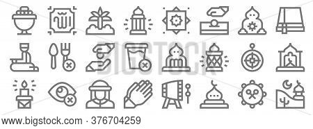 Ramadan Line Icons. Linear Set. Quality Vector Line Set Such As Mosque, Mosque, Prayer, Candle, Qibl
