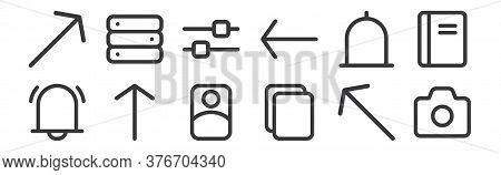 12 Set Of Linear Interface Icons. Thin Outline Icons Such As Camera, Paste, Up Arrow, Bell, Setting,