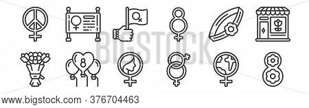 12 Set Of Linear Womens Day Icons. Thin Outline Icons Such As Eight, , Balloons, Bracelet, Flag, For