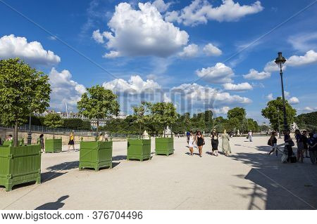 Paris, France - July 04, 2018: View Of The Tuileries Garden In Paris