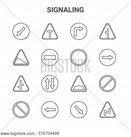 Set Of 16 Signaling Concept Vector Line Icons. 64x64 Thin Stroke Icons Such As T Junction, Slope, Tu