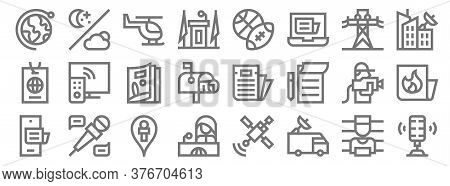 News Line Icons. Linear Set. Quality Vector Line Set Such As Microphone, Car, News Reporter, Phone,