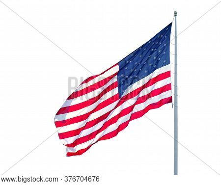Waving Usa Flag On Pole Isolated On White