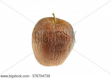 Single Dry Apple Isolated On White Background