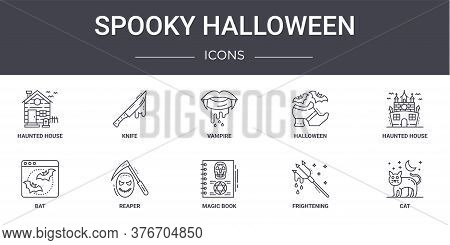 Spooky Halloween Concept Line Icons Set. Contains Icons Usable For Web, Logo, Ui Ux Such As Knife, H