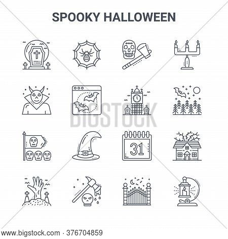 Set Of 16 Spooky Halloween Concept Vector Line Icons. 64x64 Thin Stroke Icons Such As Spider Web, Ev