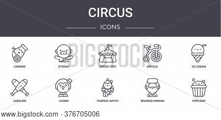Circus Concept Line Icons Set. Contains Icons Usable For Web, Logo, Ui Ux Such As Strong, Bicycle, J