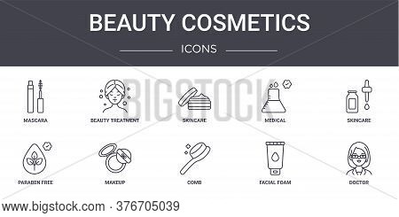Beauty Cosmetics Concept Line Icons Set. Contains Icons Usable For Web, Logo, Ui Ux Such As Beauty T