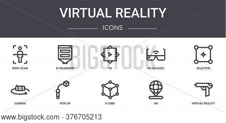 Virtual Reality Concept Line Icons Set. Contains Icons Usable For Web, Logo, Ui Ux Such As D Hologra