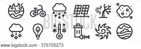 12 Set Of Linear Climate Change Icons. Thin Outline Icons Such As Heat Wave, Trash, Ecology, Windy,
