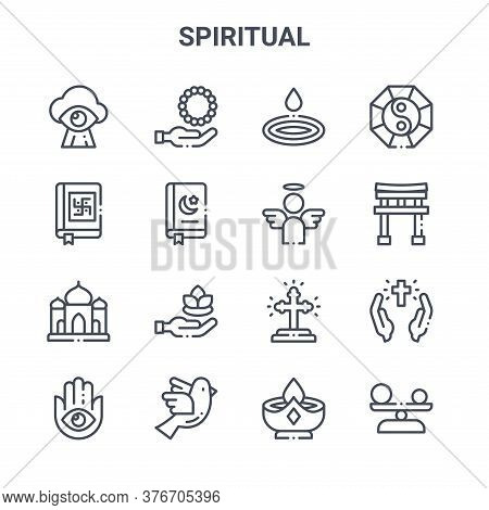Set Of 16 Spiritual Concept Vector Line Icons. 64x64 Thin Stroke Icons Such As Rosary, Vedas, Torii