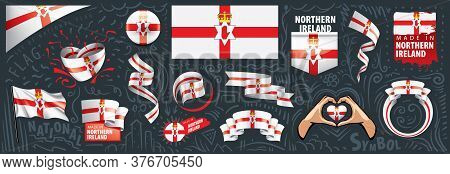 Vector Set Of The National Flag Of Northern Ireland In Various Creative Designs