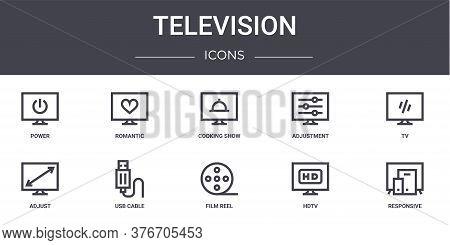 Television Concept Line Icons Set. Contains Icons Usable For Web, Logo, Ui Ux Such As Romantic, Adju