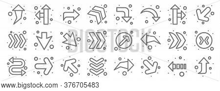 Arrows Line Icons. Linear Set. Quality Vector Line Set Such As Up Arrow, Curve Arrow, Down Arrow, Tw