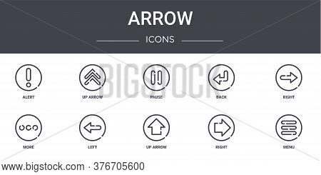 Arrow Concept Line Icons Set. Contains Icons Usable For Web, Logo, Ui Ux Such As Up Arrow, Back, Mor