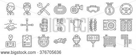 Auto Racing Line Icons. Linear Set. Quality Vector Line Set Such As Finish Flag, Timer, Race Car, Ge