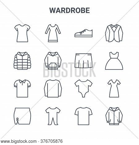 Set Of 16 Wardrobe Concept Vector Line Icons. 64x64 Thin Stroke Icons Such As Long Dress, Winter Jac