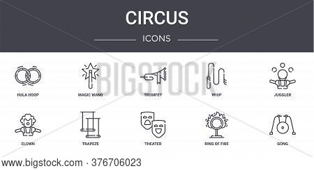 Circus Concept Line Icons Set. Contains Icons Usable For Web, Logo, Ui Ux Such As Magic Wand, Whip,