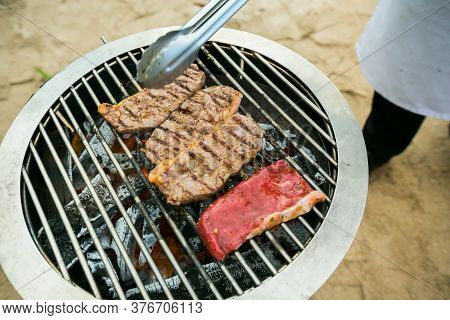 Roast Beef On Barbecue Grill.