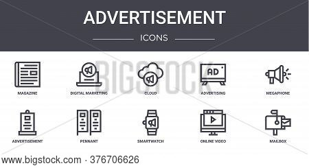 Advertisement Concept Line Icons Set. Contains Icons Usable For Web, Logo, Ui Ux Such As Digital Mar