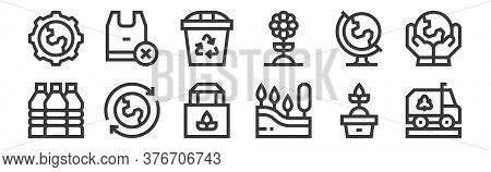 12 Set Of Linear Mother Earth Day Icons. Thin Outline Icons Such As Recycling Truck, Tree, Recycle,