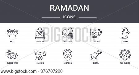 Ramadan Concept Line Icons Set. Contains Icons Usable For Web, Logo, Ui Ux Such As Window, Tea Cup,