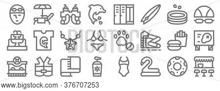 Water Park Line Icons. Linear Set. Quality Vector Line Set Such As Pub, Rubber Ring, Sunscreen, Tick