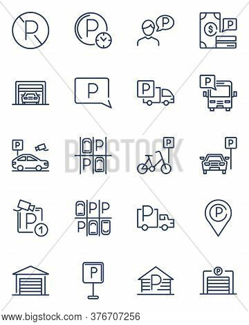 Parking Line Icons Set. Car Parked At Road Sign, Parking Lot, Garage, Valet, App, Places For Parking