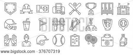 Baseball Line Icons. Linear Set. Quality Vector Line Set Such As Baseball Bag, Pom Pom, Baseball Bal