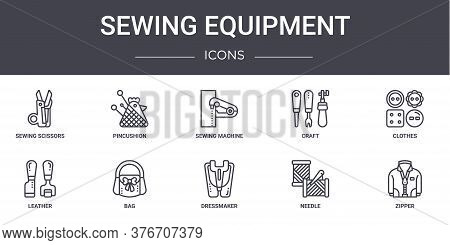 Sewing Equipment Concept Line Icons Set. Contains Icons Usable For Web, Logo, Ui Ux Such As Pincushi