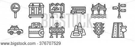 12 Set Of Linear Motorway Icons. Thin Outline Icons Such As Highway, Traffic Cone, Wallet, Bridge, B