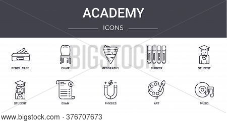 Academy Concept Line Icons Set. Contains Icons Usable For Web, Logo, Ui Ux Such As Chair, Marker, St