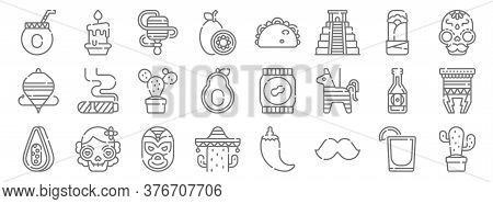 Mexico Line Icons. Linear Set. Quality Vector Line Set Such As Cactus, Moustache, Cactus, Papaya, Be