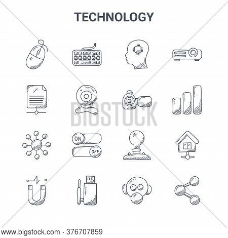 Set Of 16 Technology Concept Vector Line Icons. 64x64 Thin Stroke Icons Such As Keyboard, Sha, , Ide