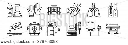 12 Set Of Linear Medical Services Icons. Thin Outline Icons Such As Medical Stretcher, Electrocardio