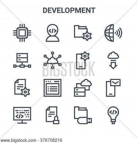 Set Of 16 Development Concept Vector Line Icons. 64x64 Thin Stroke Icons Such As Programmer, Server,