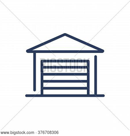 Closed Garage Thin Line Icon. Shut Gate, Slot, Warehouse Isolated Outline Sign. Parking, Car Driving