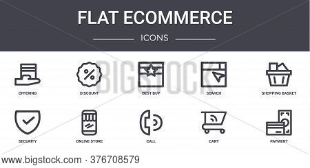 Flat Ecommerce Concept Line Icons Set. Contains Icons Usable For Web, Logo, Ui Ux Such As Discount,