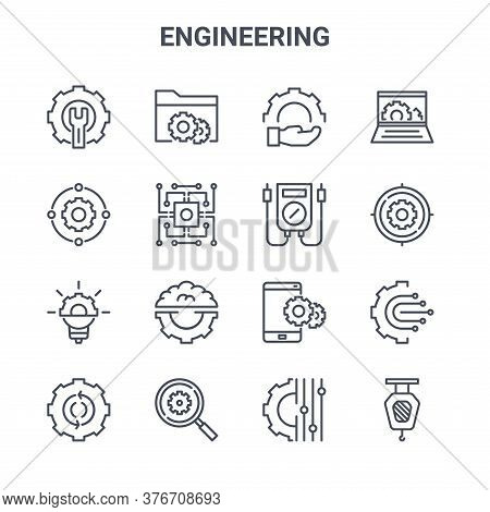 Set Of 16 Engineering Concept Vector Line Icons. 64x64 Thin Stroke Icons Such As File Management, Co