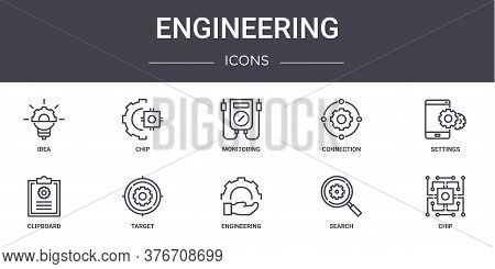 Engineering Concept Line Icons Set. Contains Icons Usable For Web, Logo, Ui Ux Such As Chip, Connect