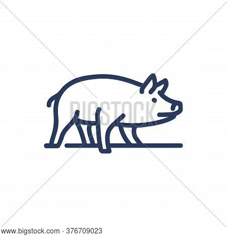 Pig Thin Line Icon. Animal, Boar, Mammal Isolated Outline Sign. Farming, Agriculture, Pork Productio