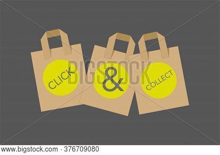 Click And Collect Internet Shopping Concept Vector